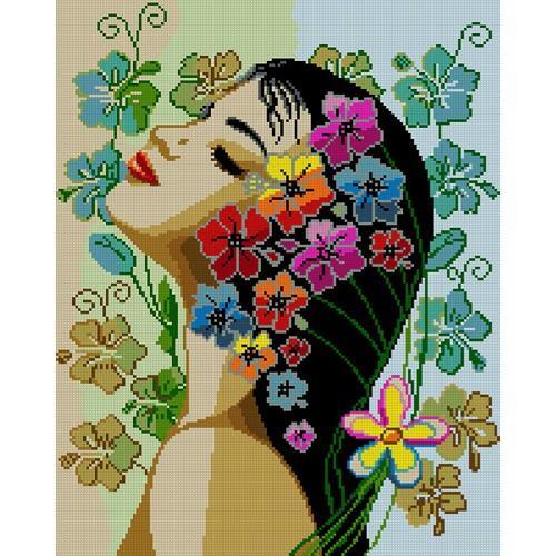 Předtištěná kanava - Květiny ve vlasech