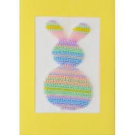 Vyšívací sada s korálky a kartou - Pastelový zajíček