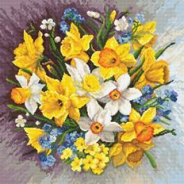 Vyšívací sada s mulinkou a podiskem - Jarní květiny