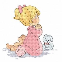 Vyšívací sada s mulinkou a podiskem - Modlící se holčička
