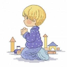 Vyšívací sada s mulinkou a podiskem - Modlící se chlapec