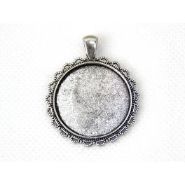 Základna medaliónu kulatá barva stříbro 30mm