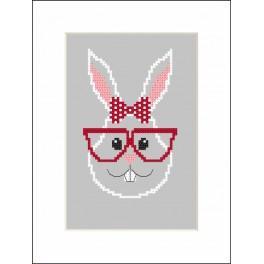 Vyšívací sada s mulinkou a přáníčkem - Hipster rabbit girl