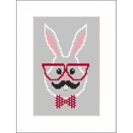 Vyšívací sada s mulinky, korálky a kartou - Hipster rabbit boy