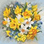 Vyšívací sada s mulinkou a povlakem na polštář - Polštář - Jarní květiny II