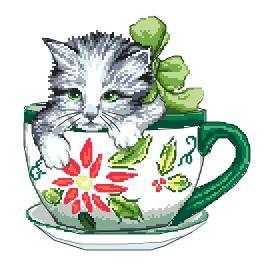 K 4378 Předtištěná kanava - Kočička v šálku