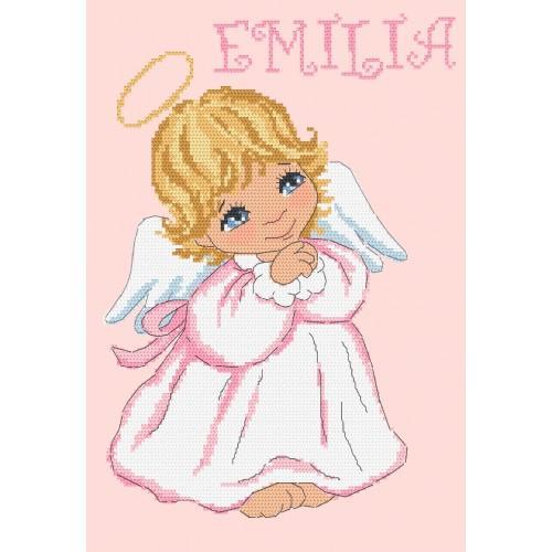 Vyšívací sada s mulinkou a podiskem - Piccolo angelo per una ragazza