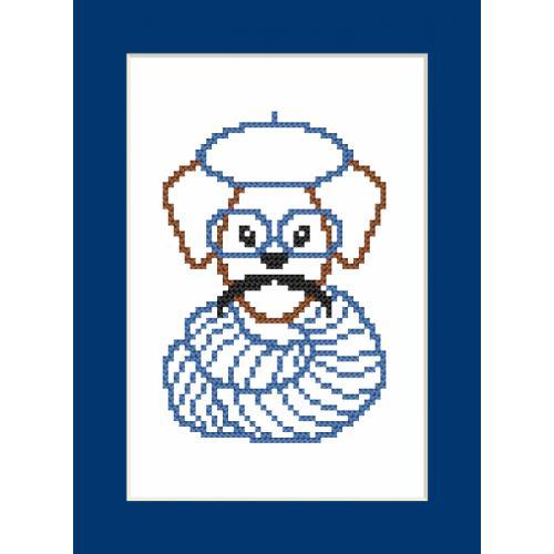 ZU 8907 Vyšívací sada - Přání - Hipster dog boy II