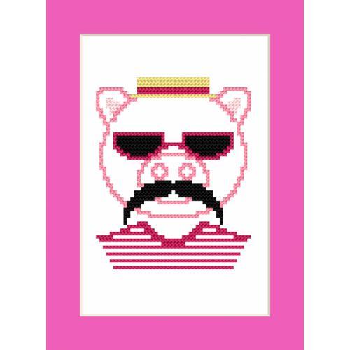 Vyšívací sada - Přání - Hipster pig boy