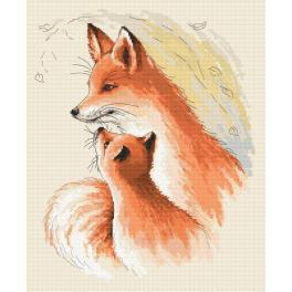 Vyšívací sada s mulinkou a podiskem - Přítulné lišky