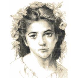 Sada s mulinkou a potiskem - Dívka podle W.Bouguereau