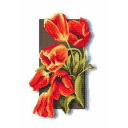 Vyšívací sada s korálky - Tulipány 3D