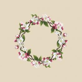 Předloha on line - Ubrus - Věneček z květů jabloní