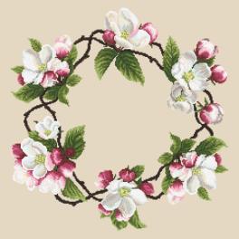 Vyšívací sada s mulinkou a ubrouskem - Ubrousek - Věneček z květů jabloní