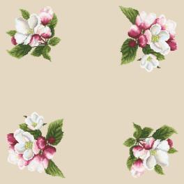 Předloha on line - Ubrousek - Věneček z květů jabloní II