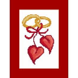 Vyšívací sada s korálky a kartou - Přání - Svatební srdce
