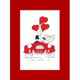 Vyšívací sada s korálky a kartou - Přání - Svatební cesta