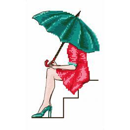 Vyšívací sada s mulinkou a podiskem - Zelený deštník