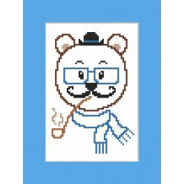 Vyšívací sada s mulinkou a přáníčkem - Přání - Hipster bear boy
