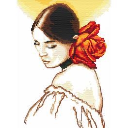 Vyšívací sada s mulinkou a podiskem - Žena s růží
