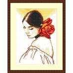 Předtištěná kanava - Žena s růží