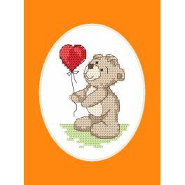 Vyšívací sada s mulinkou a přáníčkem - Medvídek s balónkem