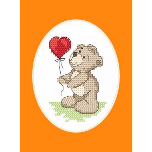 ZU 8749 Vyšívací sada s mulinkou a přáníčkem - Medvídek s balónkem
