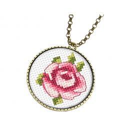 Vyšívací sada s mulinkou a medaliónem - Medailón s růží