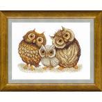 Vyšívací sada - Family of owls