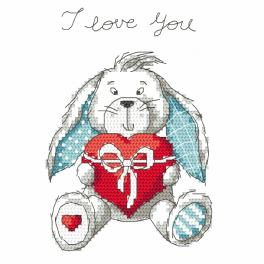 Vyšívací sada - Hravý zajíček - I love You