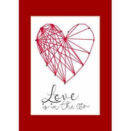 Vyšívací sada s mulinkou a přáníčkem - Pohlednice - Srdce