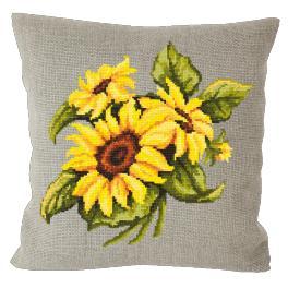 Předloha - Lněný polštářek se slunečnicemi