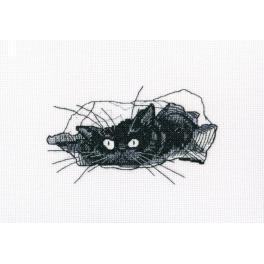 Vyšívací sada - Černý kocour - Hledej!