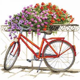 Vyšívací sada s mulinkou a podiskem - Létem na kole