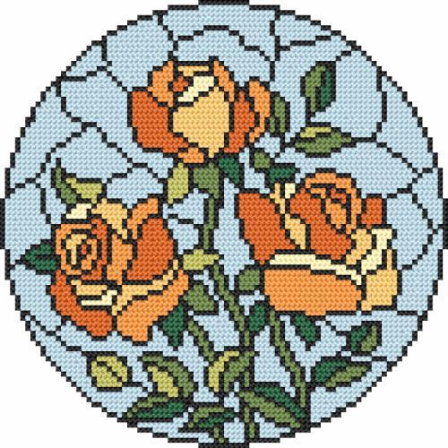 ZK 8603 Vyšívací sada s korálký - Vitrážové - Růže