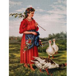 Vyšívací sada - Dívka s husami