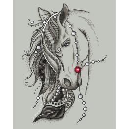 Vyšívací sada s mulinkou a podiskem - Kůň s peřím
