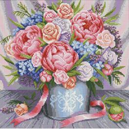 Diamond painting sada - Růžové květiny