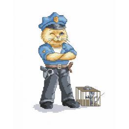 Vyšívací sada s mulinkou a podiskem - Kočka - policajt