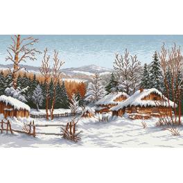 Předtištěná aida - Chaty v zimě - S. Sikora