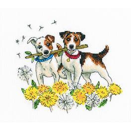 Vyšívací sada - Psi v květinách