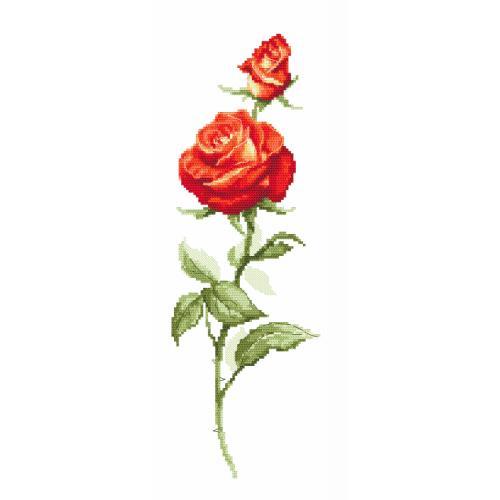 ZK 10143 Vyšívací sada s korálký - Červená růže