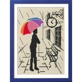 Vyšívací sada s rámečkem - Barevný deštník - Již brzy
