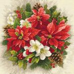Vyšívací sada s mulinkou a podiskem - Kouzlo vánoční červeně