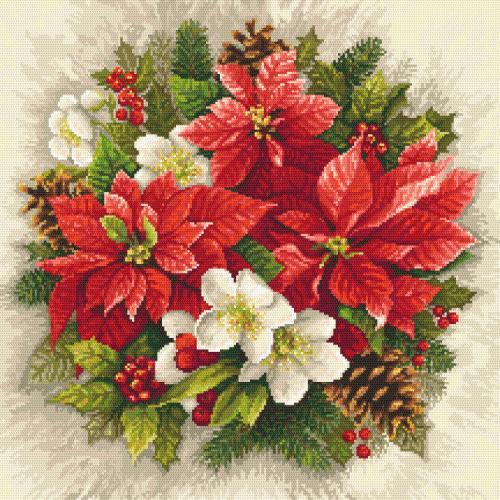 Vyšívací sada - Kouzlo vánoční červeně