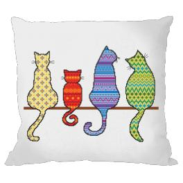 Předloha online - Polštář - Barevné kočky
