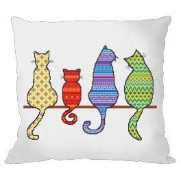 Předloha - Polštář - Barevné kočky