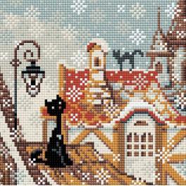 Diamond painting sada - Zimní město a kočky