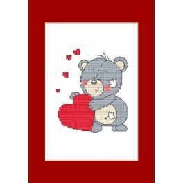 Vyšívací sada - Valentýnské přání - Medvídek