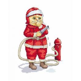 Vyšívací sada s mulinkou a podiskem - Kočka - hasič
